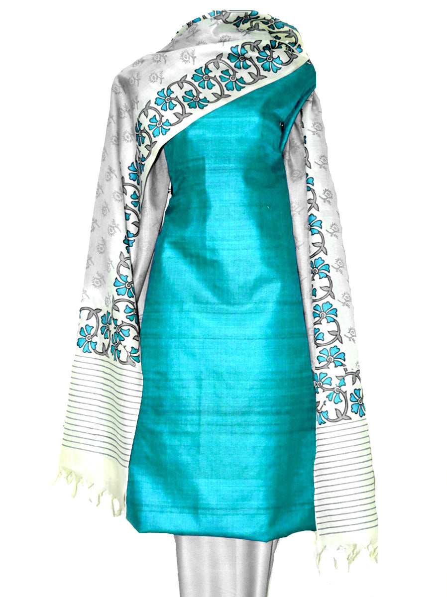 Block Printed Tussar Silk Ensemble in Turquoise Color