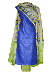 Block Printed Tussar Silk Suit in Blue Green Color