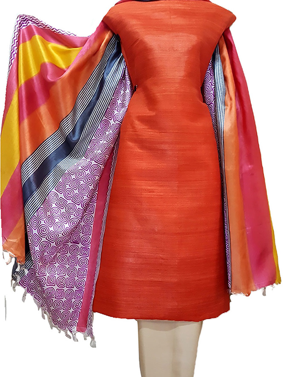 Red Hand Block Printed Tussar Silk Ensemble BBETU04