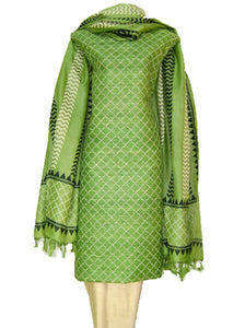 Block Printed Tussar Silk Ensemble in Green Color