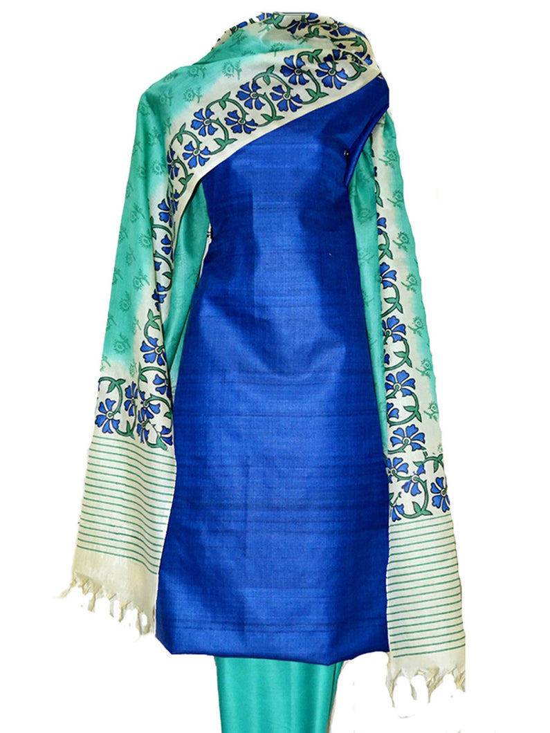 Block Printed Tussar Silk Suit in Blue Color BBETU024