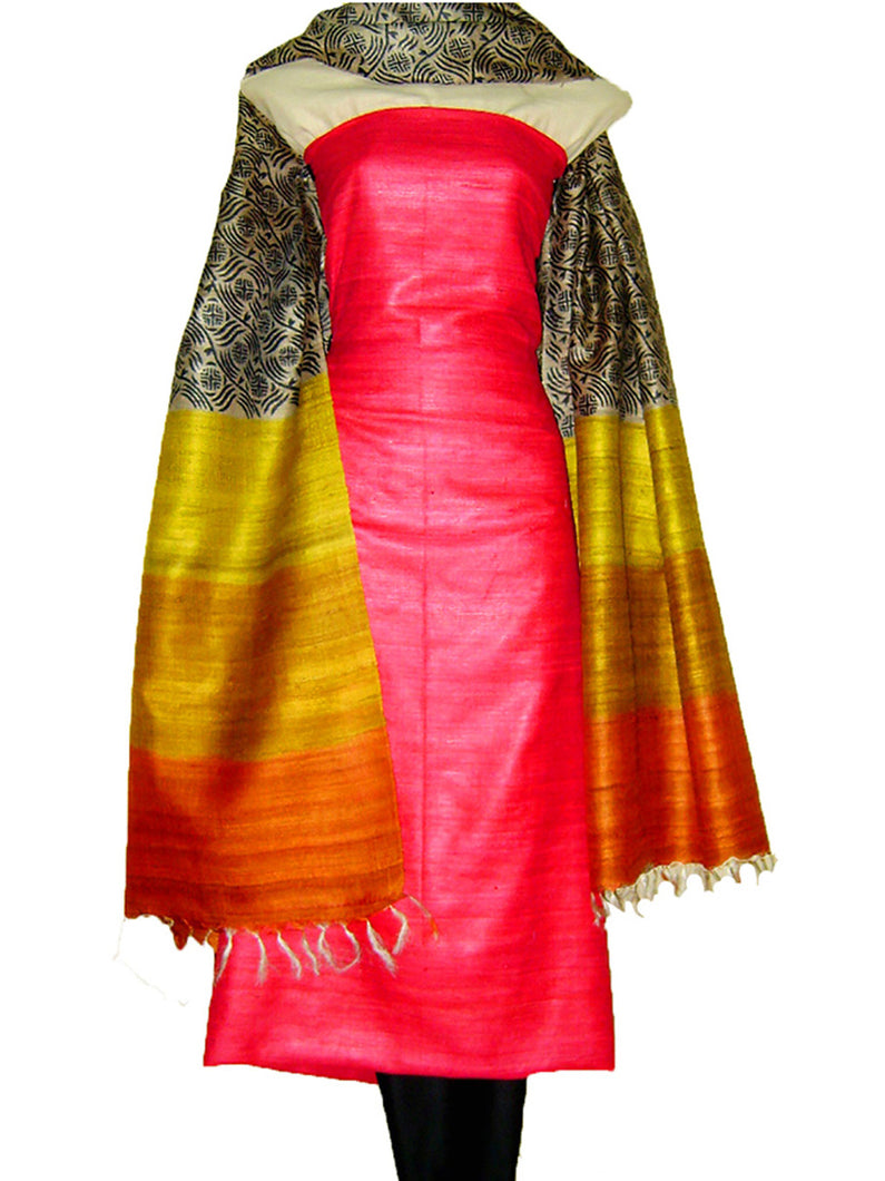 Block Printed Tussar Silk Ensemble in Red Black Color