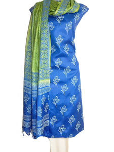 Block Printed Tussar Silk Suit in Blue and Green