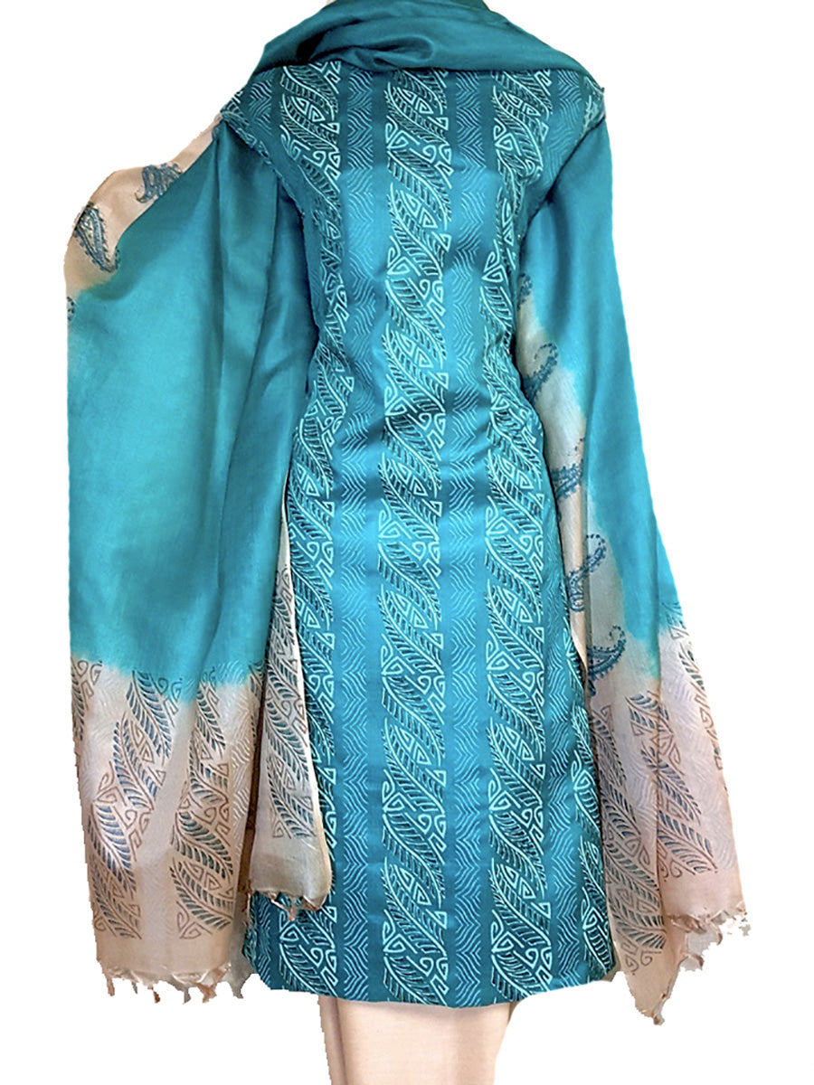 Block Printed Tussar Silk Ensemble in Light Blue Color