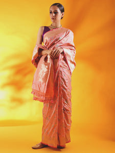 Nude Pink Pure Kataan Silk Saree with Meenakari Jaal