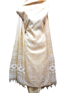 Block Printed Tussar Silk Suit in White