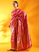 Load image into Gallery viewer, Handwoven Kadhua Jangla Banarasi Silk Saree in Red