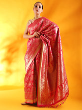 Load image into Gallery viewer, Handwoven Kadhua Jangla Banarasi Silk Saree in Coral Pink