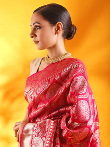 Handwoven Kadhua Jangla Banarasi Silk Saree in Red