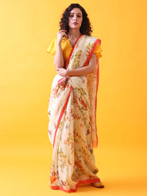 Load image into Gallery viewer, Silk Linen Saree with Floral Prints