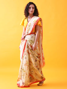 Silk Linen Saree with Floral Prints