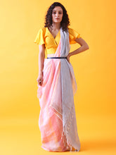 Load image into Gallery viewer, Pink Linen Saree with Silver Zari Border