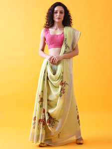 Pastel Green Handwoven Printed Linen Saree