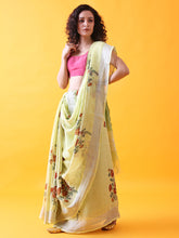 Load image into Gallery viewer, Pastel Green Handwoven Printed Linen Saree