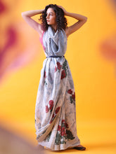 Load image into Gallery viewer, Handwoven Grey-Silver Linen Saree with Prints and Zari