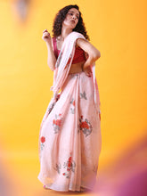 Load image into Gallery viewer, Handwoven Pink Linen Saree with Prints and Zari