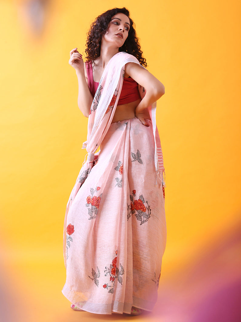 Handwoven Pink Linen Saree with Prints and Zari