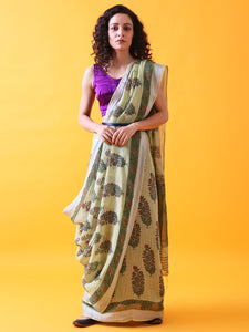 Green Linen Saree with Mughal Buttis and Silver Zari Border