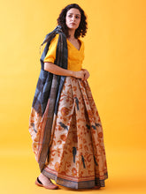 Load image into Gallery viewer, Hand Block Printed Tussar Silk Saree with Bird and Floral Theme BBPRTS06
