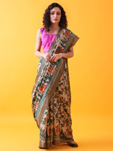 Load image into Gallery viewer, Hand Block Printed Tussar Silk Saree with Bird and Floral Theme BBPRTS07