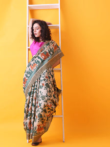 Hand Block Printed Tussar Silk Saree with Bird and Floral Theme BBPRTS07