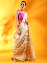 Load image into Gallery viewer, Off - White Banarasi Silk Saree with Floral Motifs