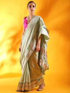 Misty Green Kataan Silk Banarasi Saree with Kadhua Border