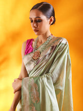Load image into Gallery viewer, Misty Green Kataan Silk Banarasi Saree with Kadhua Border