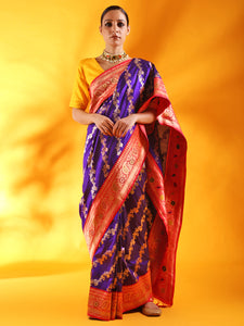 Handwoven Banarasi Katan Silk Saree with Meenakari Kadhiyal Border