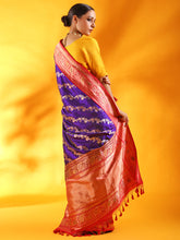 Load image into Gallery viewer, Handwoven Banarasi Katan Silk Saree with Meenakari Kadhiyal Border