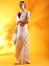 Load image into Gallery viewer, White Khaddi Georgette Saree with Kadhua Buttis