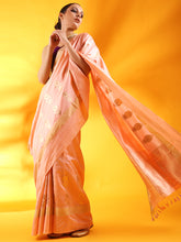 Load image into Gallery viewer, Pastel Pink Banarasi Silk Saree with Floral Motifs