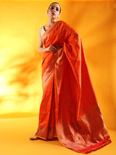 Load image into Gallery viewer, Rust Color Pure Silk Tanchoi  Banarasi Handloom Saree