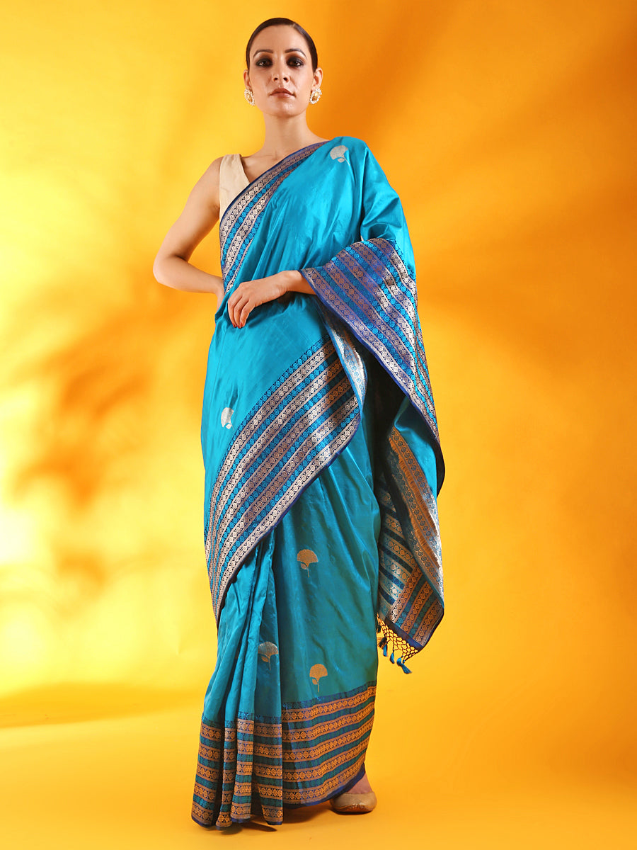 Peacock Blue Banarasi Silk Saree with Buttis and Kadhwa Palla