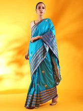 Load image into Gallery viewer, Peacock Blue Banarasi Silk Saree with Buttis and Kadhwa Palla
