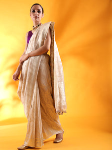 Beige Tussar Georgette Silk Saree