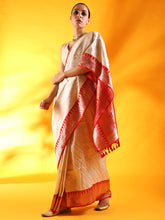 Load image into Gallery viewer, Ivory White Banarasi Silk Saree with Red Golden Border