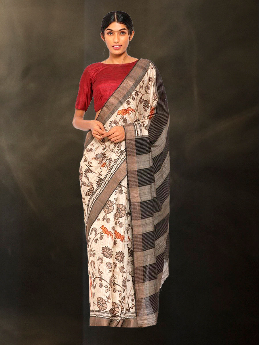 Hand Block Printed Tussar Silk Saree with Floral Theme BBPRTS09