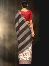 Load image into Gallery viewer, Hand Block Printed Tussar Silk Saree with Floral Theme BBPRTS09
