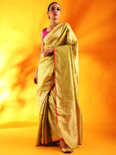 Load image into Gallery viewer, Pista Green with Pink Border Pure Banarasi Silk Saree.