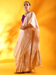 Pale Pink Silk Saree with Floral Motifs and Border