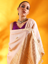 Load image into Gallery viewer, Pale Pink Silk Saree with Floral Motifs and Border