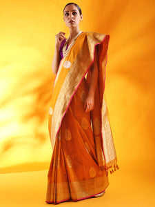 Mustard Yellow Kadhua Weave Banarasi Silk Saree with Sona Rupa Zari