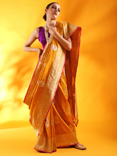Load image into Gallery viewer, Mustard Yellow Kadhua Weave Banarasi Silk Saree with Sona Rupa Zari
