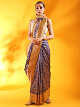 Load image into Gallery viewer, Patola Banarasi Saree in Teal Blue Silk Saree