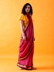 Magenta Pink Linen Saree with Zari Border