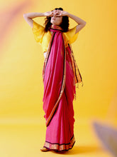 Load image into Gallery viewer, Magenta Pink Linen Saree with Zari Border