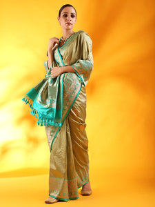 Pista Green Banarasi Tussar Silk Saree with Kadiyal Border
