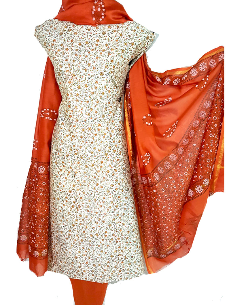 Printed Tussar Silk Suit