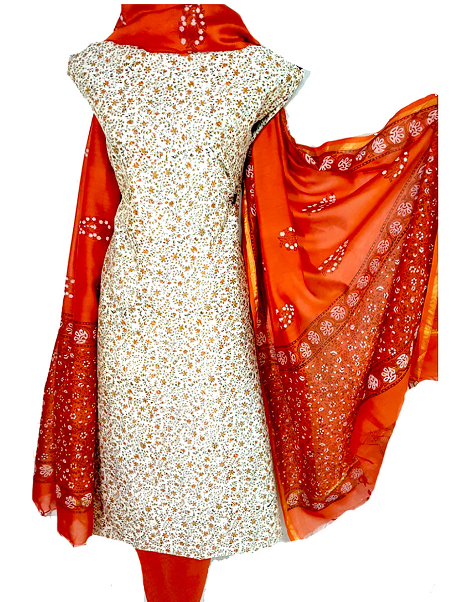 Block Printed Tussar Silk Suit in Cream Red BBETUS029